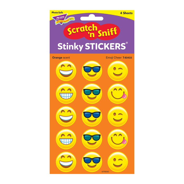 T83433 Stickers Scratch n Sniff Orange Emoji Cheer Package
