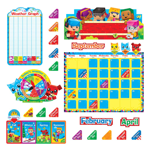 T8381 Bulletin Board Block Star Kids Dog Cat Calendar