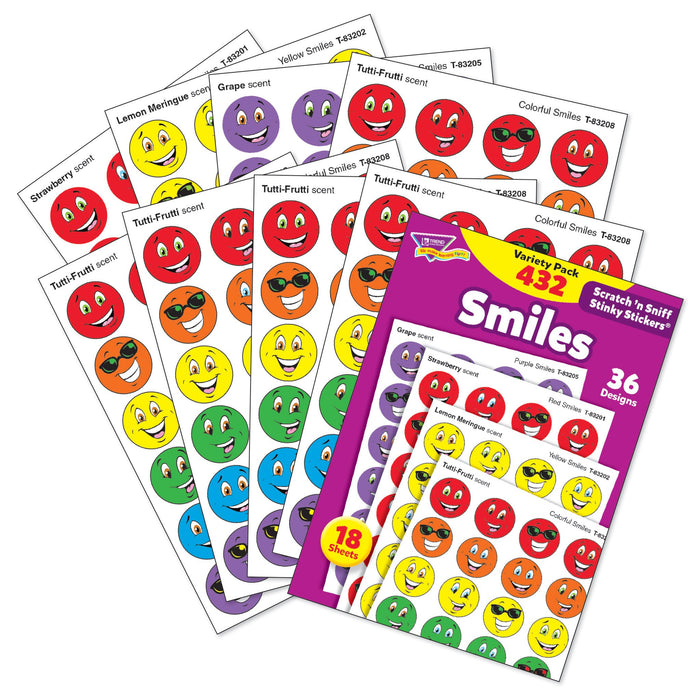 T83903 Sticker Scratch n Sniff Variety Pack Smiles