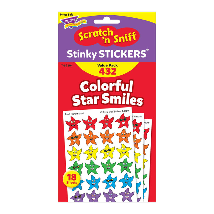 T83904 Sticker Scratch n Sniff Value Pack Color Star Smiles Package
