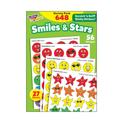 T83905 Sticker Scratch n Sniff Variety Pack Smiles Stars