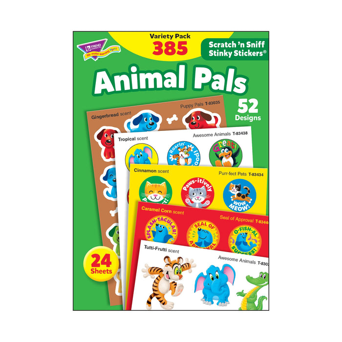 T83915 Sticker Scratch n Sniff Variety Pack Animal Pals