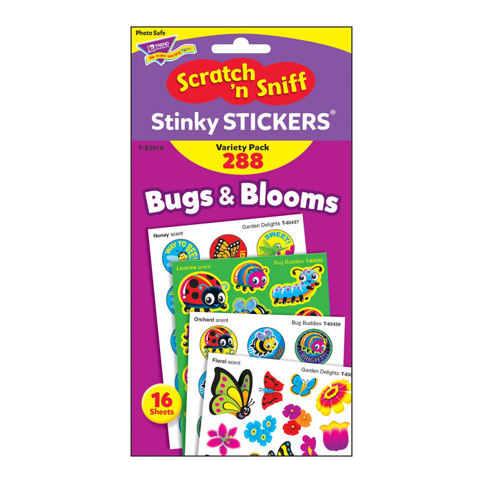 T83916 Sticker Scratch n Sniff Variety Pack Bugs Blooms Package