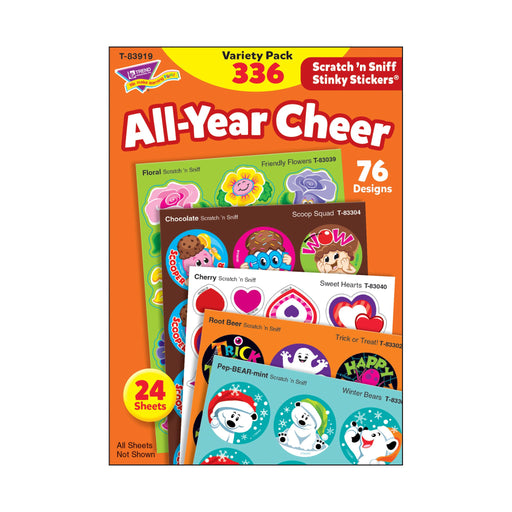 T83919 Sticker Scratch n Sniff Variety Pack All Year Cheer