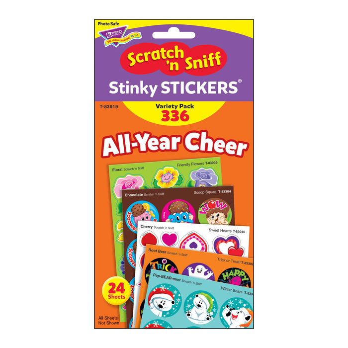 T83919 Sticker Scratch n Sniff Variety Pack All Year Cheer Package