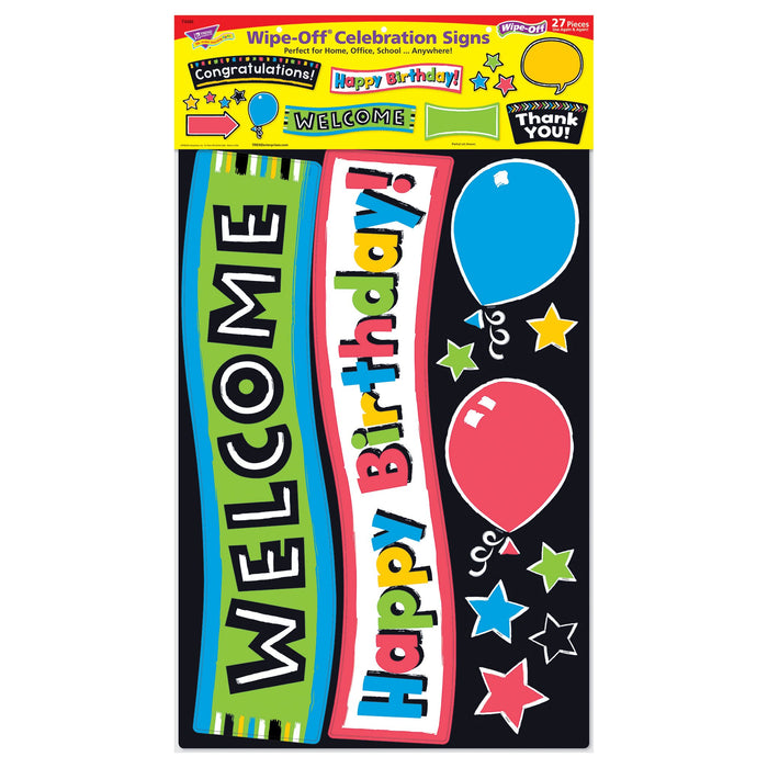 T8393 Bulletin Board Bold Wipe Off Celebration Signs Package