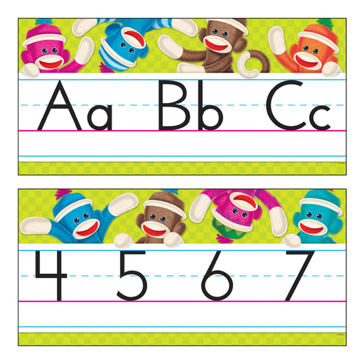 T8415 Bulletin Board Sock Monkey Manuscript Alphabet Line