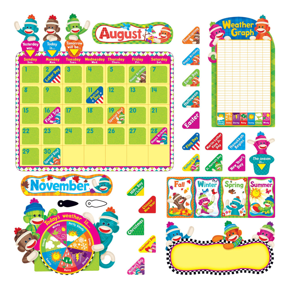 T8416 Bulletin Board Sock Monkey Calendar