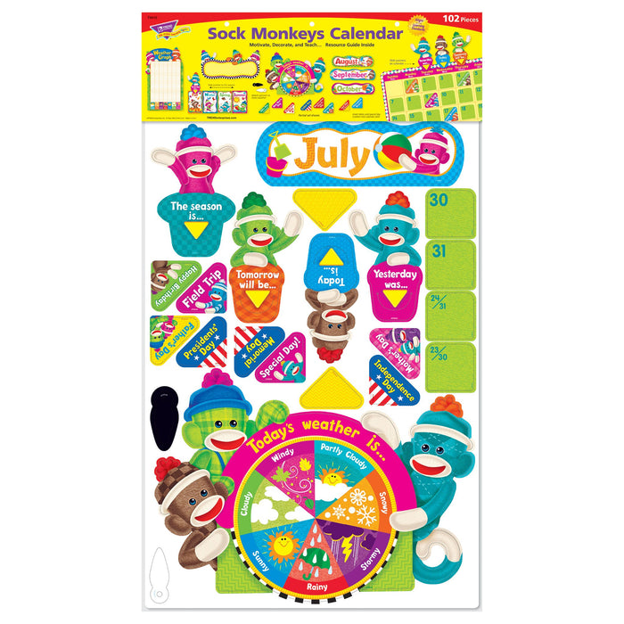 T8416 Bulletin Board Sock Monkey Calendar Package