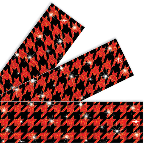 T85437 Border Trimmer Sparkle Houndstooth Red