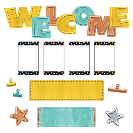 T8772 Bulletin Board Metal Wipe Off Welcome