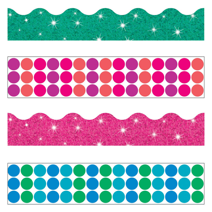 T90826 Border Trimmer 4 Pack Dots And Glitz