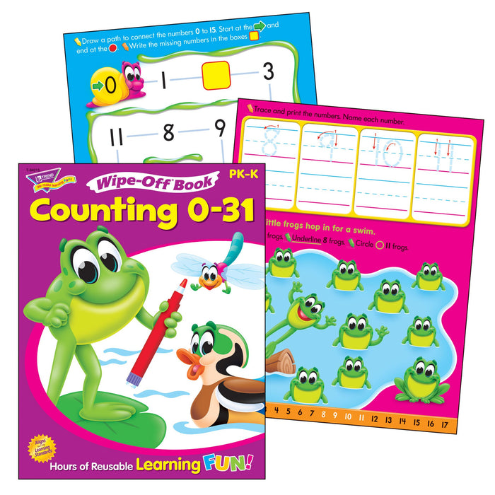 T90882 Learning Fun Pack Wipe Off Book Counting 0 to 31