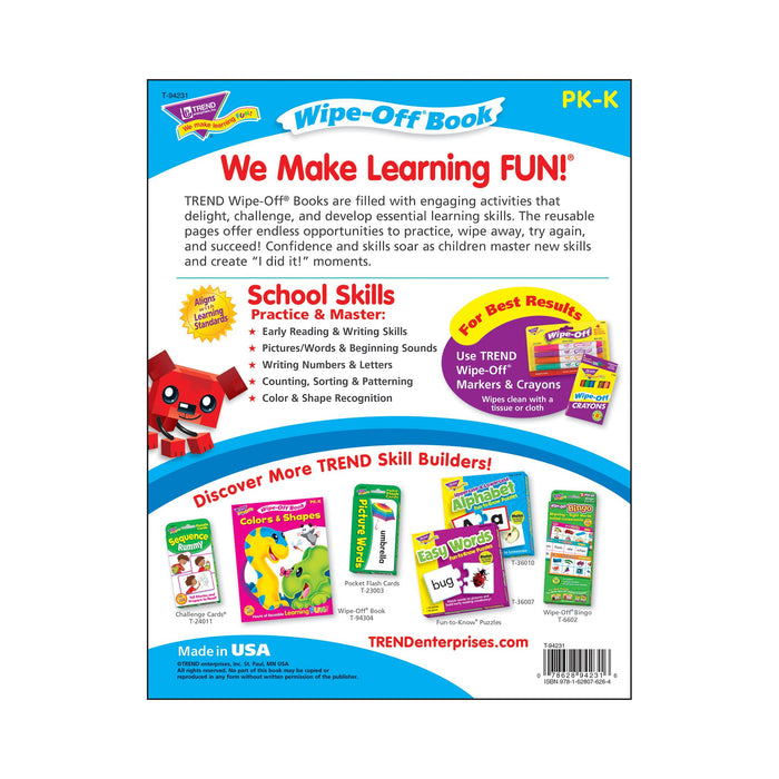T94231 Wipe Off Book School Skills Back Cover