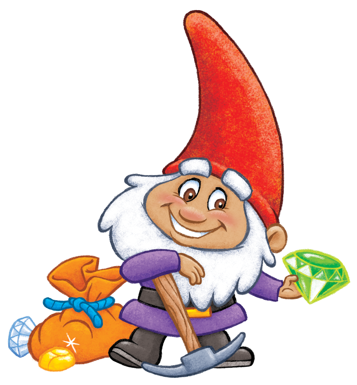 Smiling gnome holding a jewel treasure from GNOMES vs TROLLS™ triangle-shaped card game by TREND.