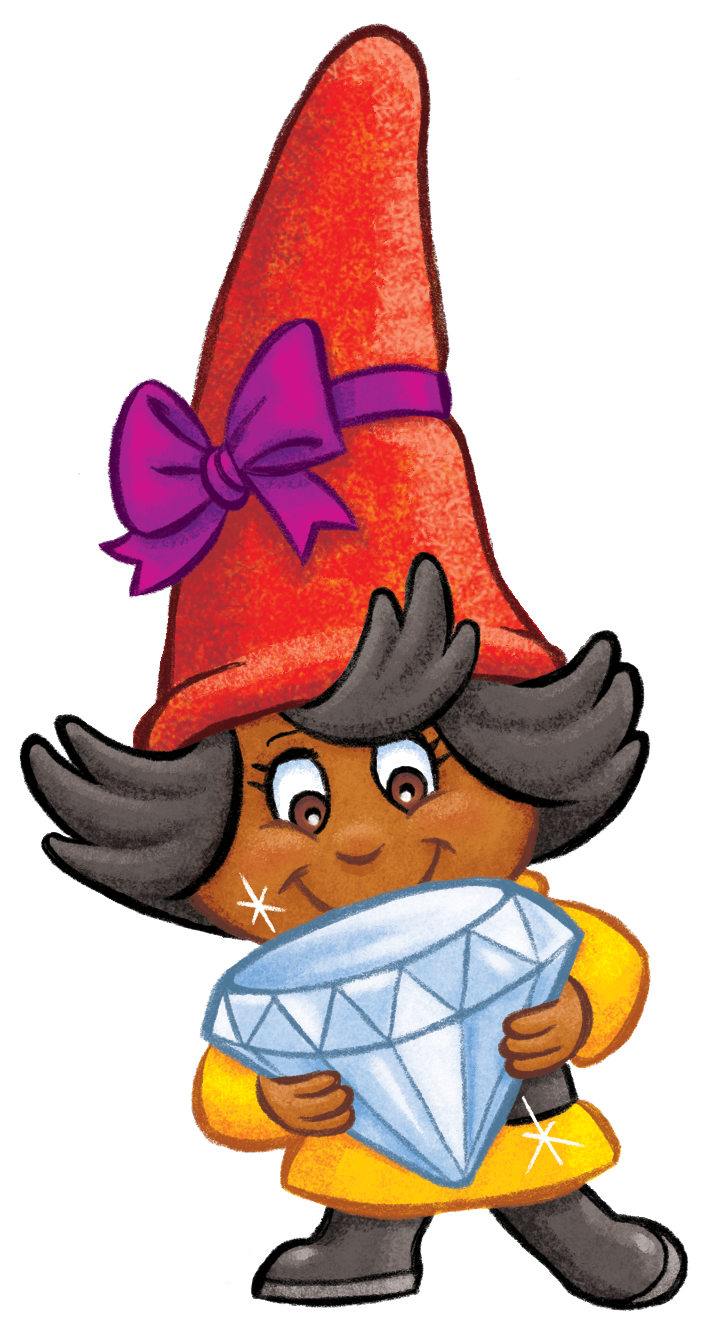 Cute gnome girl holding a jewel