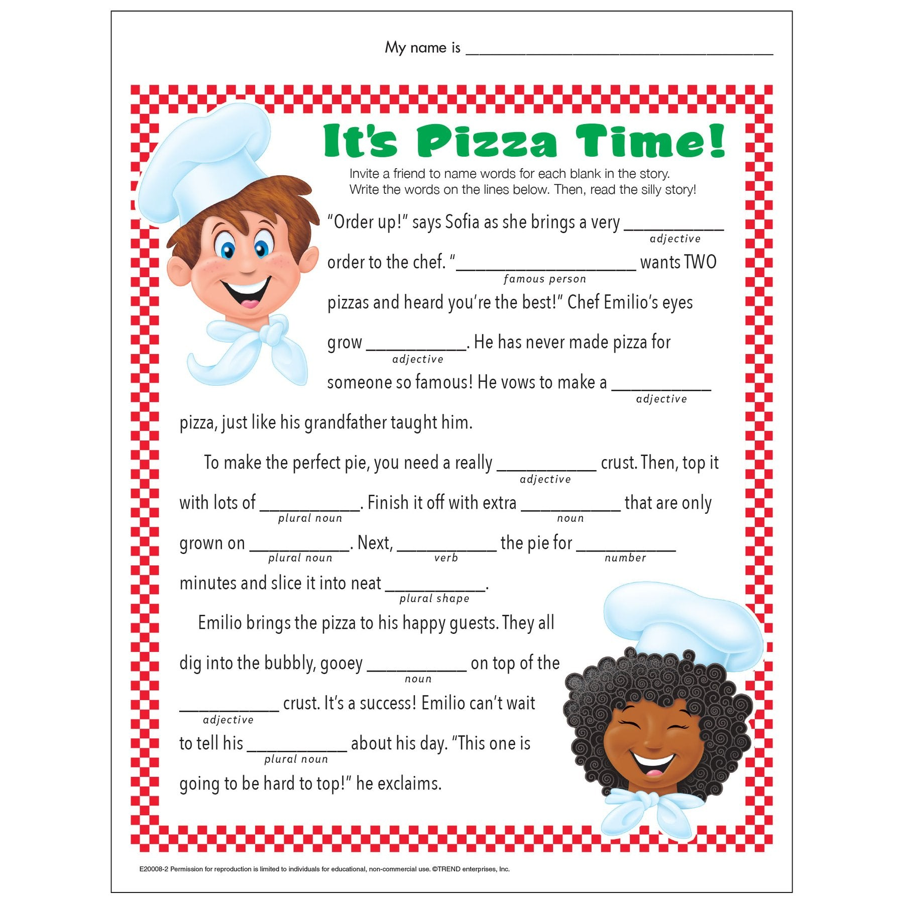 Pizza Time Silly Story Fill-in-the-blank free worksheet