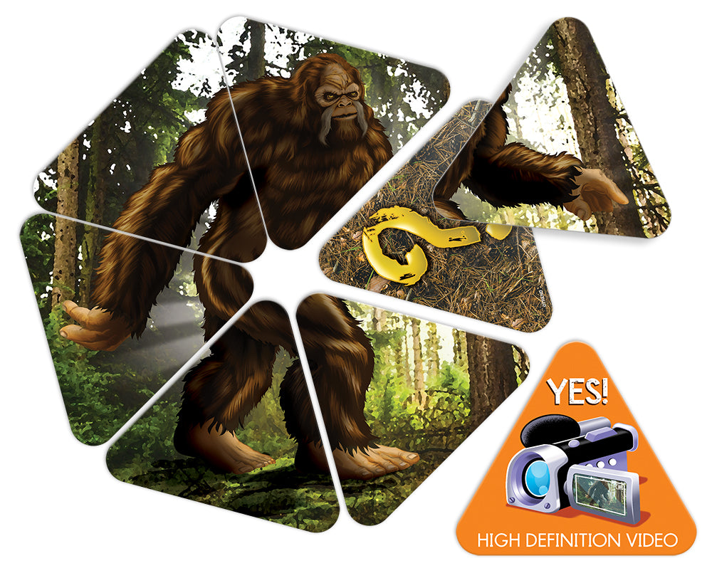 Product image of triangle-shaped cards in the sqWATCH OUT!™ card game for kids and adults. The Bigfoot game!