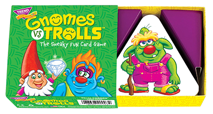 GNOMES vs TROLLS™ game box. It's the sneaky fun card game for families! Great game to play at home with the kids. Easy to learn, quick to play. Made in USA