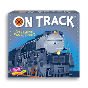 Product image of game box for ON TRACK™ Three Corner™ fun railroad train card game for kids