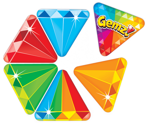 Product image of triangle-shaped cards in the Gemz!™ card game for kids and adults