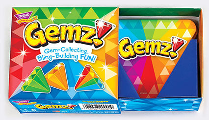 Gemz!™ game box. Great game to play at home with the kids. Easy to learn, quick to play. Made in USA