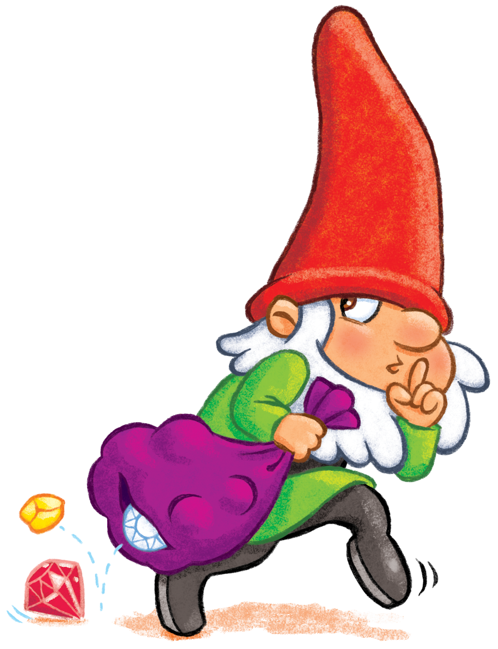 Gnome sneaking away with a treasure from the family board game GNOMES vs TROLLS™