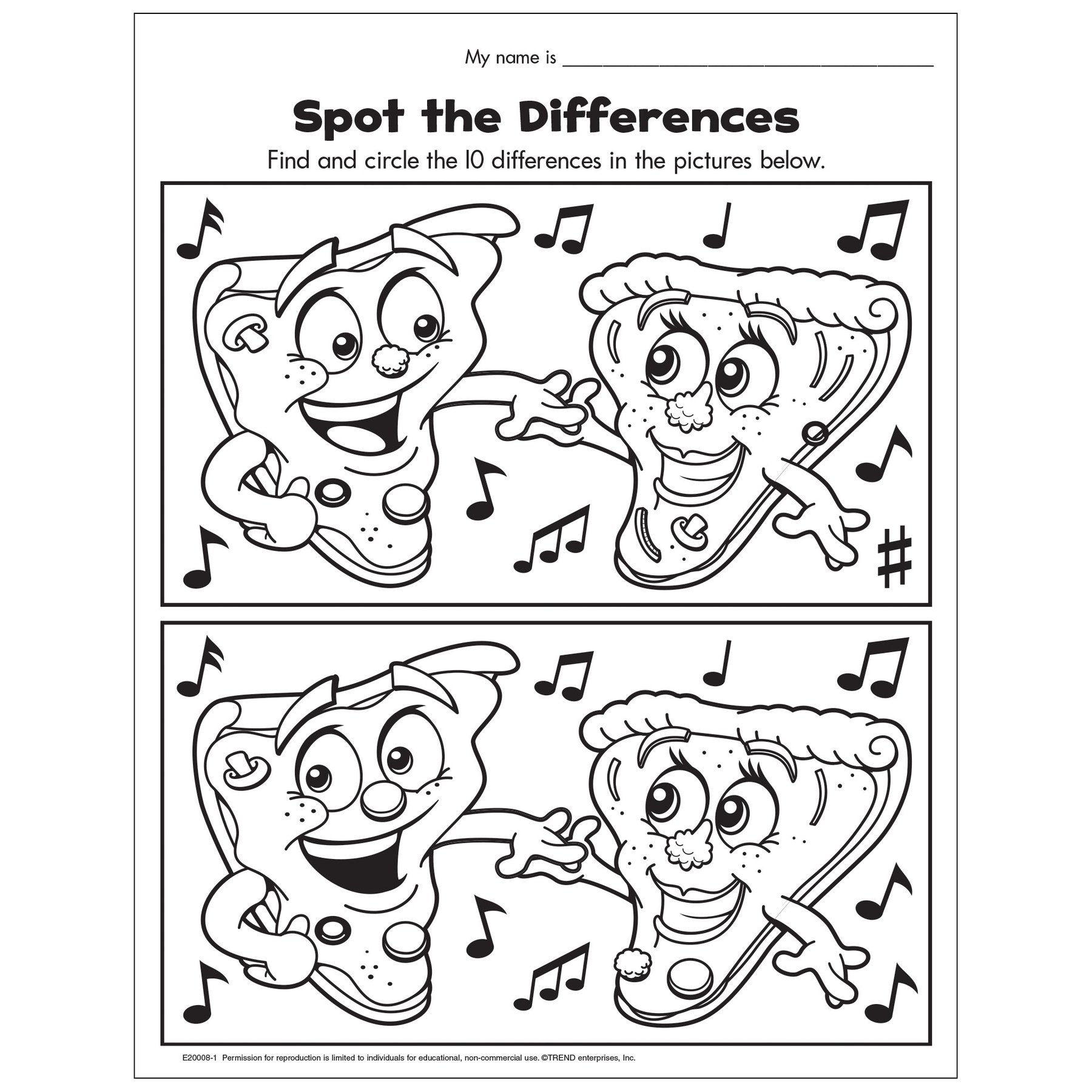 Spot the differences free download worksheet