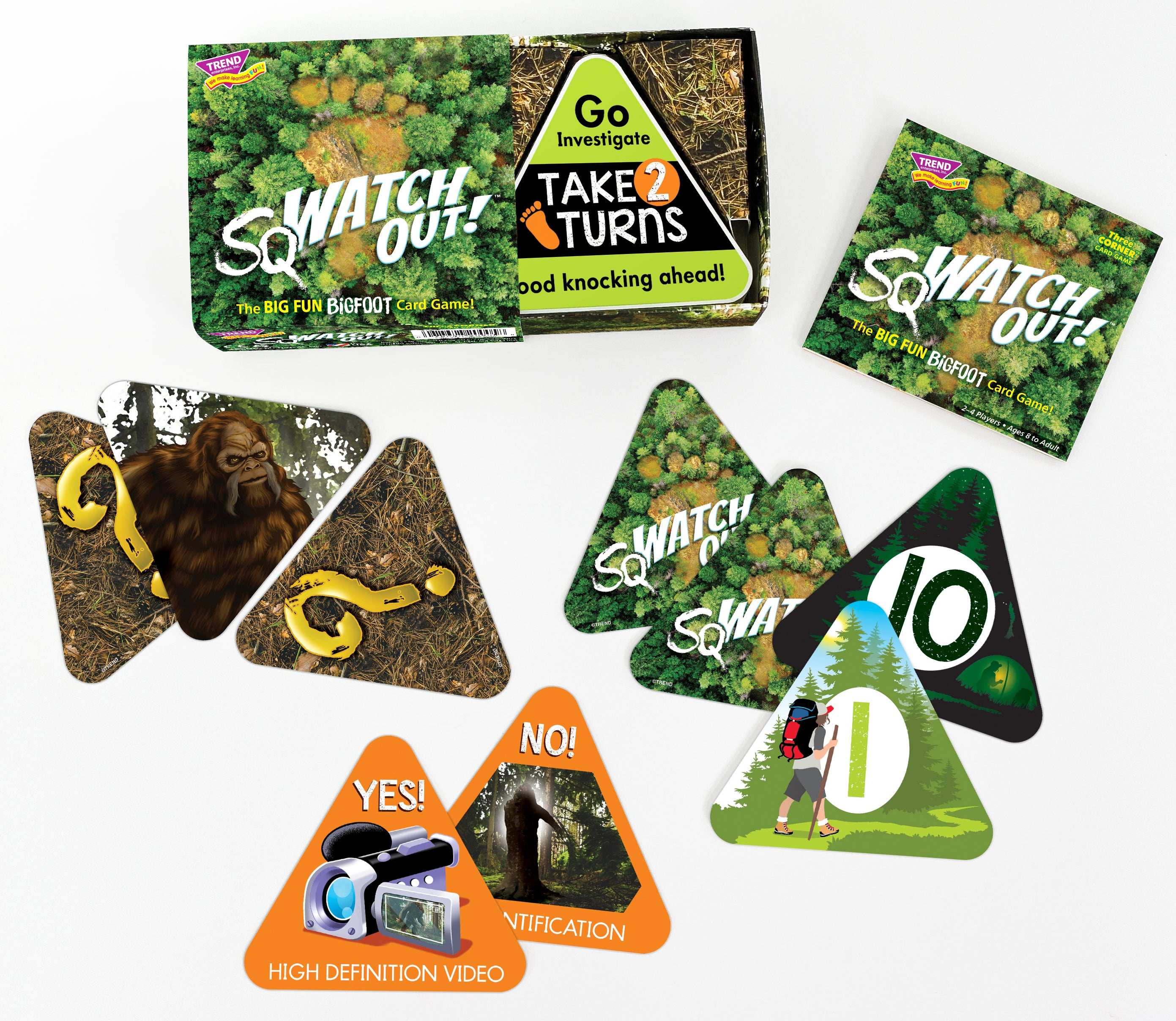 Product image showing contents of boxed game sqWATCH OUT!™ triangle shaped card game for kids and adults. The Bigfoot game!