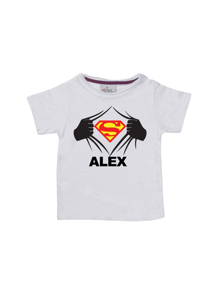 Boy White Super Man Shirt