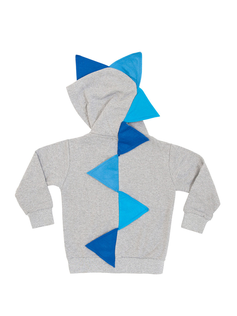 Boy Grey Dinosaur Hoodie with Blue Spikes