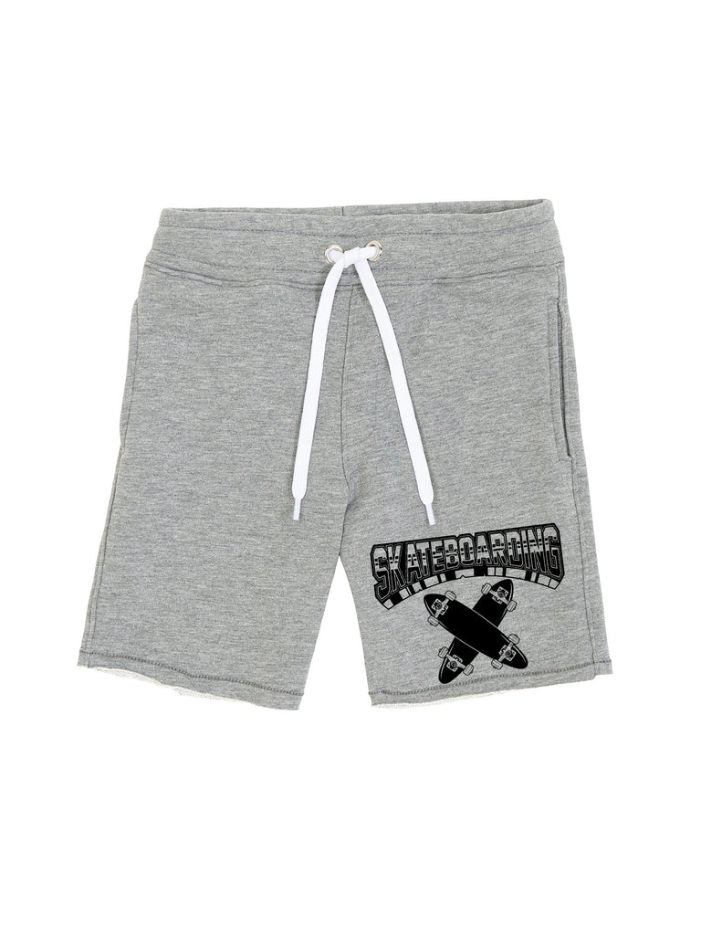 Boy Grey Skateboarding Logo Cotton Fleece Shorts