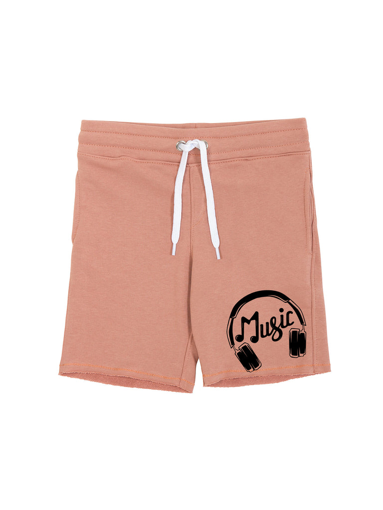 Boy Salmon Headphones Logo Cotton Fleece Shorts