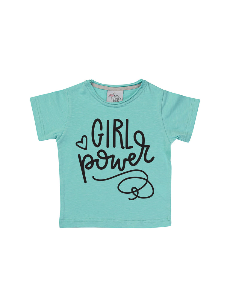 Aqua girl power shirt for girl miss flamingo kids
