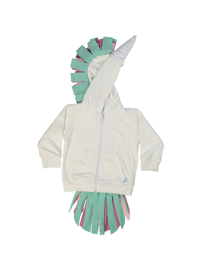 White unicorn hoodie for girl miss flamingo kids