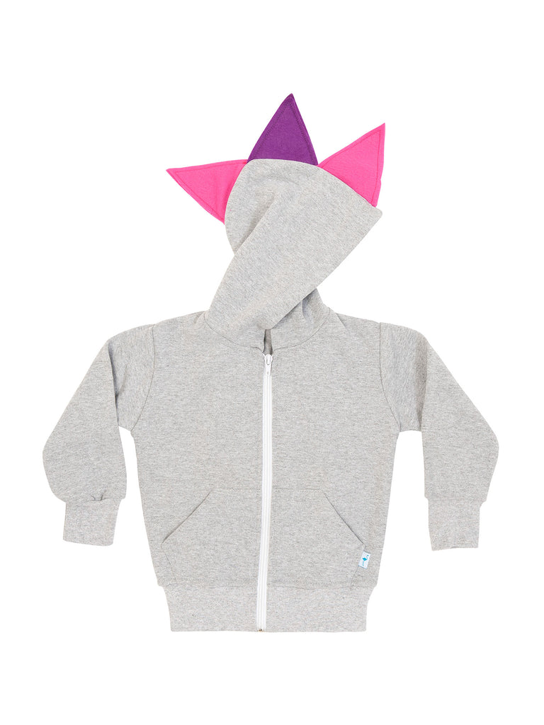 grey dinosaur hoodie with pink/purple spikes for girl miss flamingo kids