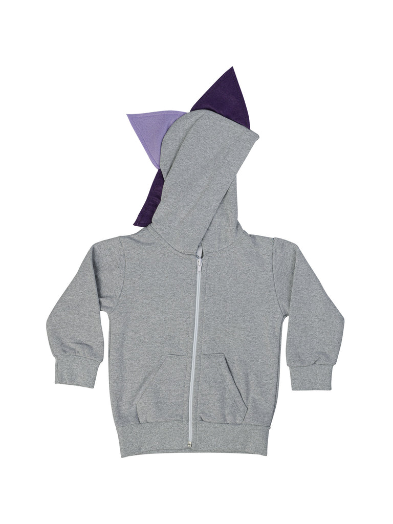 grey dinosaur hoodie for girl miss flamingo kids