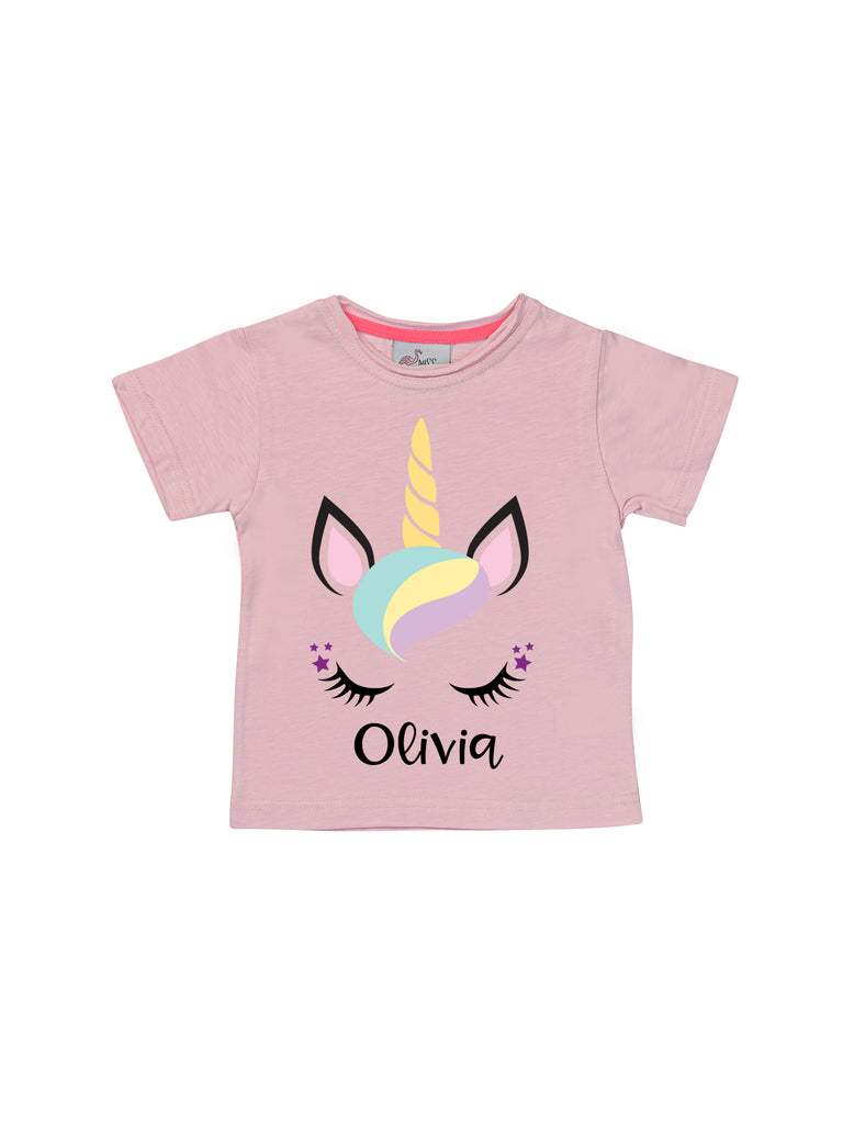 Girl Unicorn Personalized Pink Shirt