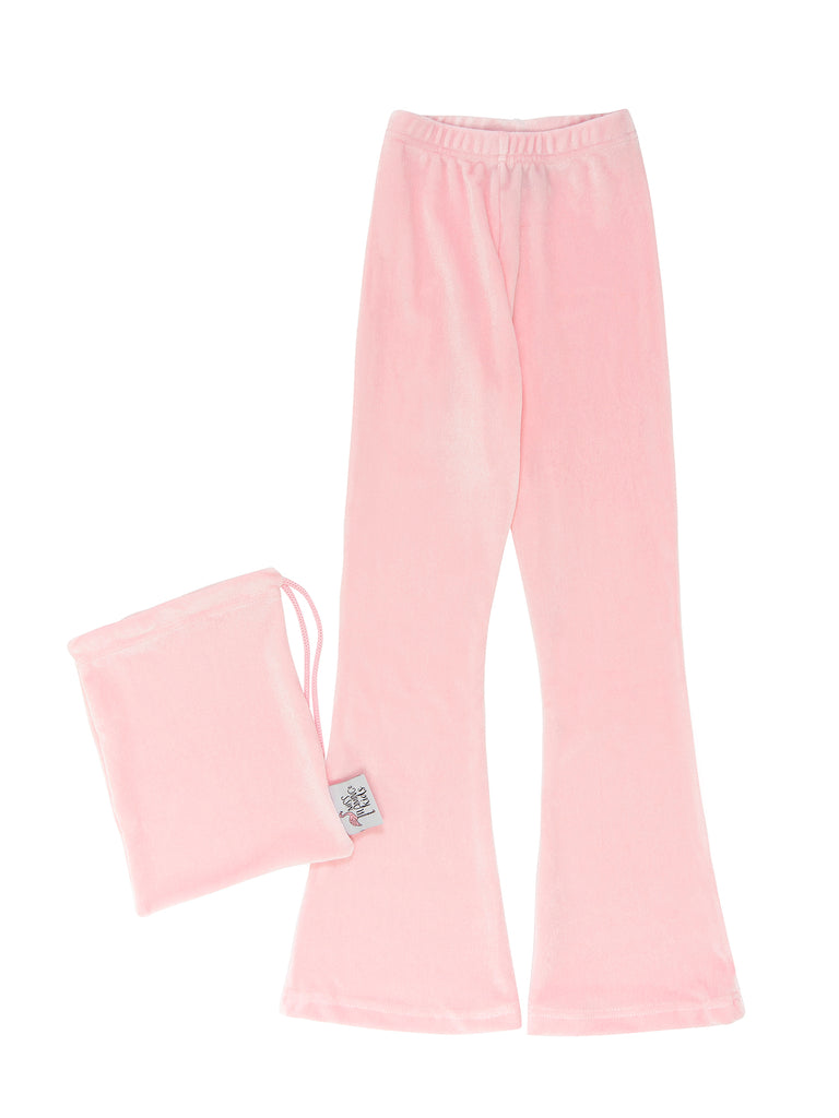 pink velvet bell bottom leggings for girls miss flamingo kids