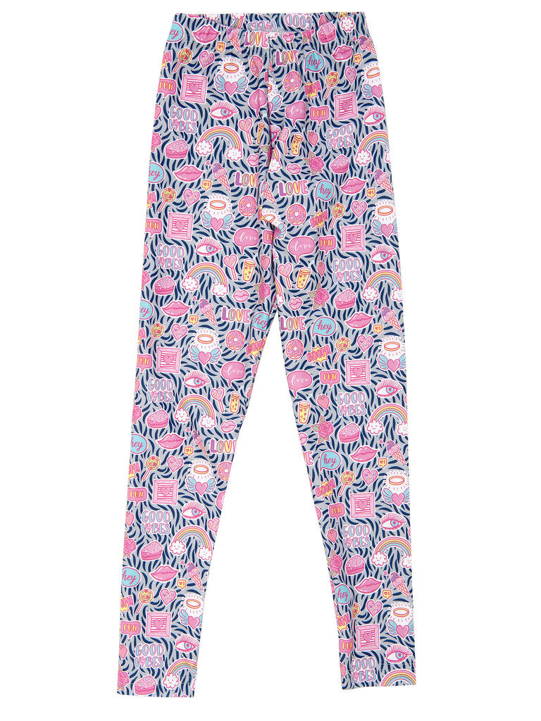 good vibes elastic legging for girl miss flamingo kids