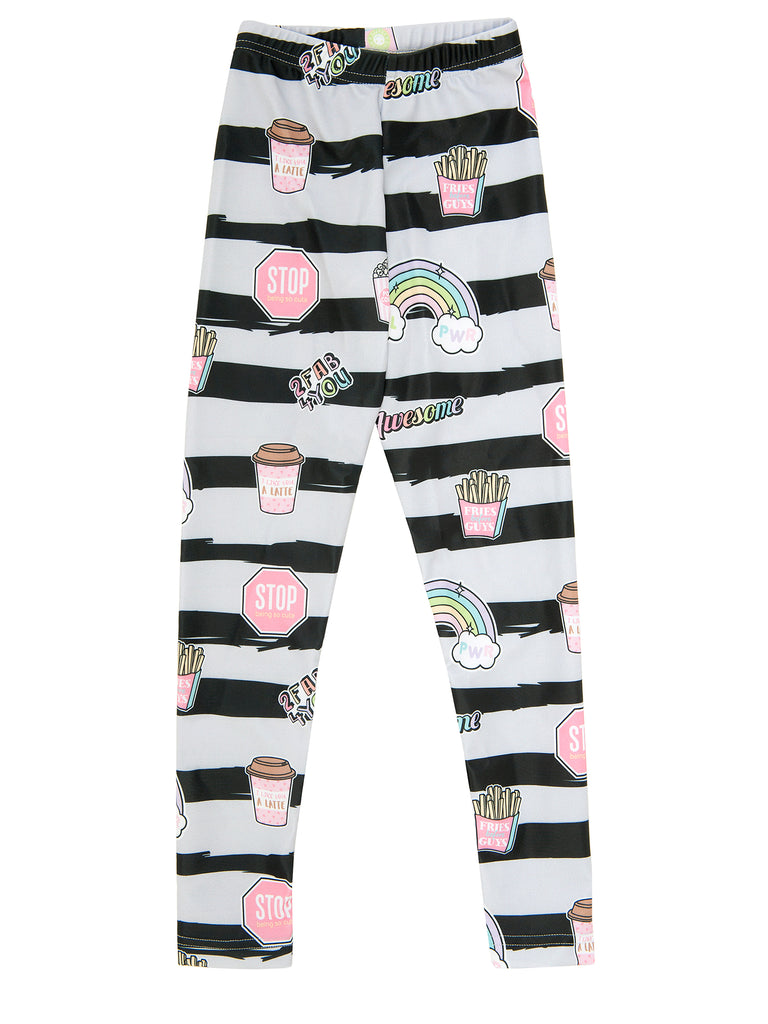 awesome stripes elastic legging for girl miss flamingo kids