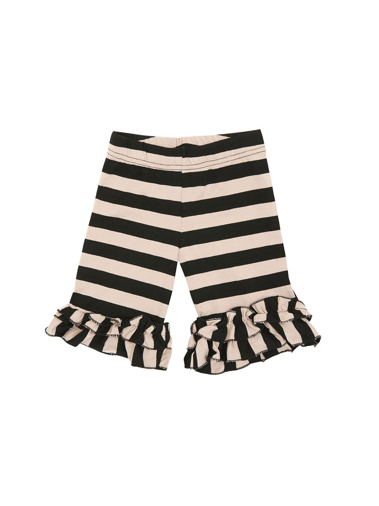 Girl Black and Creme Ruffle Stripes Cotton Shorts