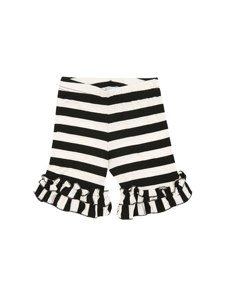 Girl Black and White Ruffle Stripes Cotton Shorts