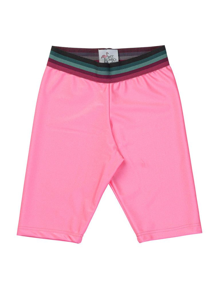 bubble pink lycra biker shorts for girl miss flamingo kids