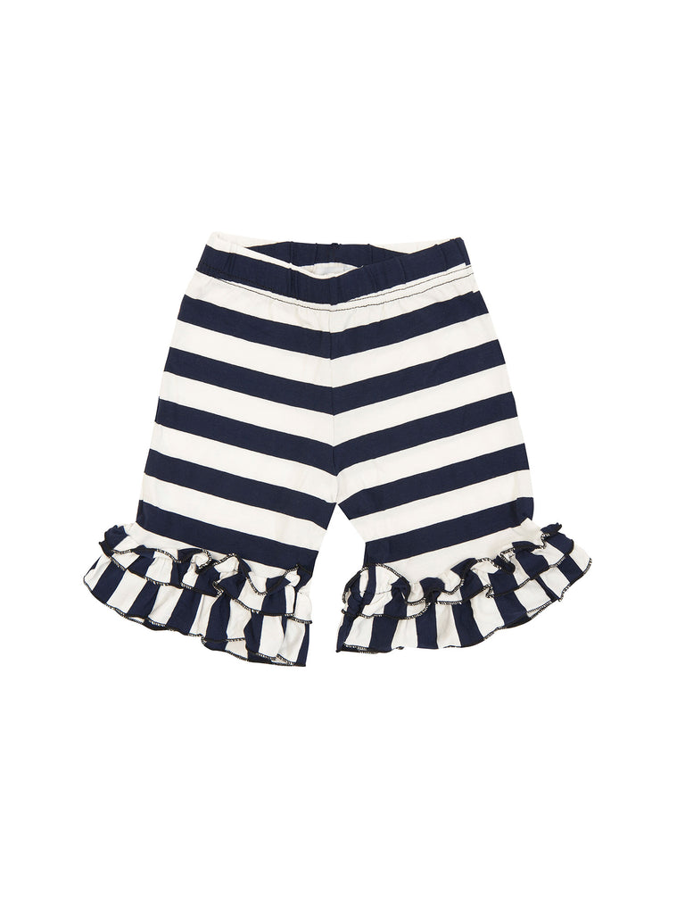 Girl Blue and White Ruffle Stripes Cotton Shorts