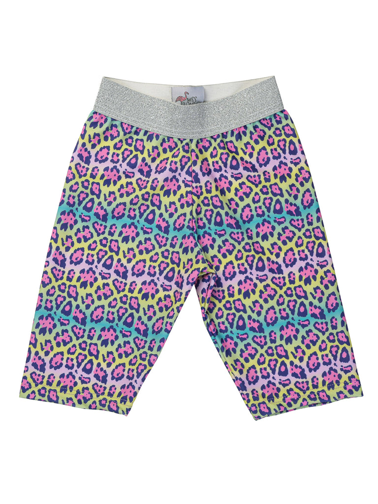 rainbow leopard biker shorts for girl miss flamingo kids