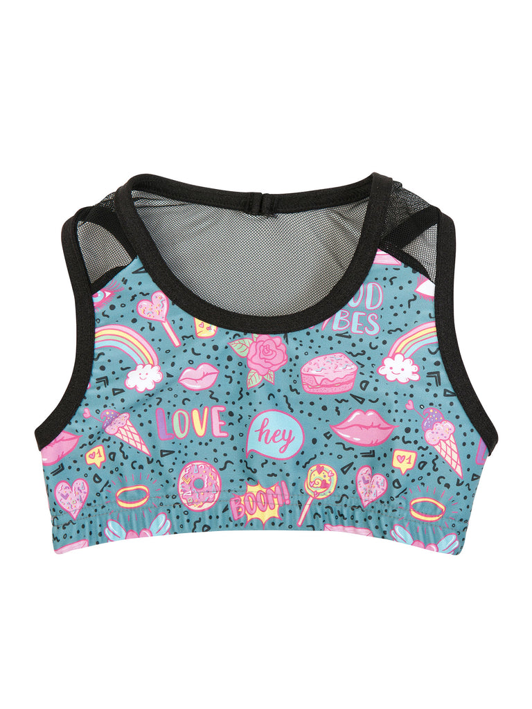 green sports top for girl miss flamingo kids
