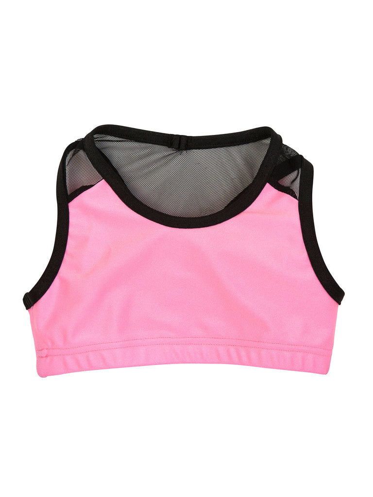 bubble pink lycra sports top for girl miss flamingo kids