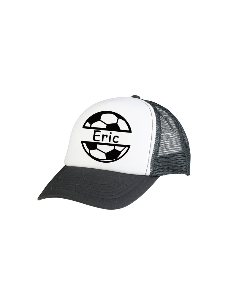 Boy Black Custom Soccer Trucker Hat