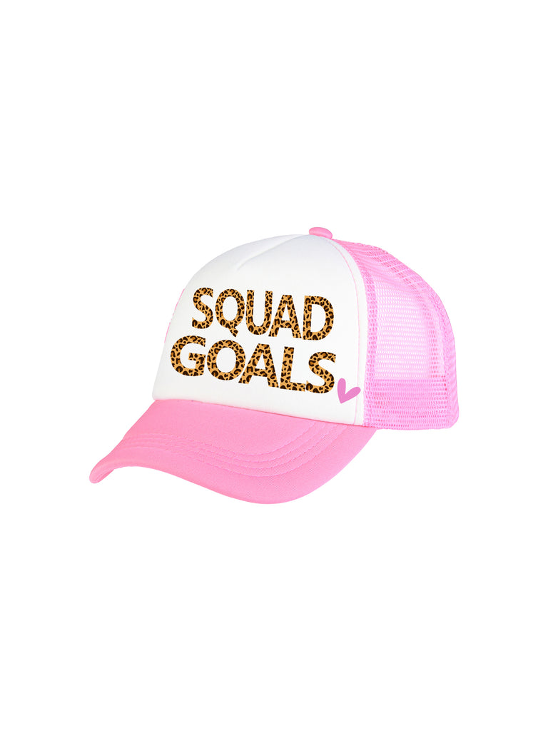 pink squad goals trucker hat for girl miss flamingo kids